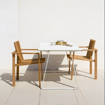 copenhagen table with teak chairs