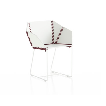 textile chair white and burgundy