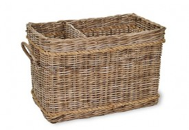 Rattan Log Basket with Rope by Garden Trading