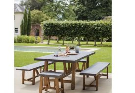 Chilson Cement Fibre Table and Bench Set - Large by Garden Trading