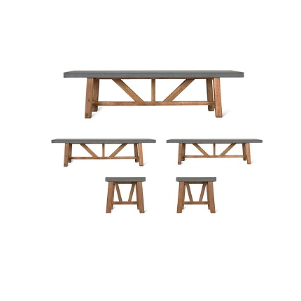 chilson table and bench set small 2